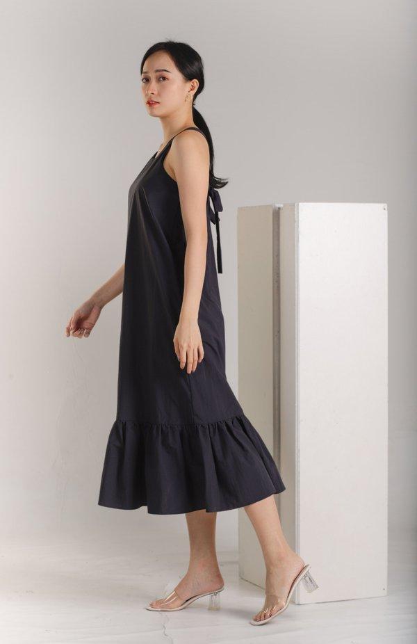 Andrea Tie Back Midaxi Dress - Navy