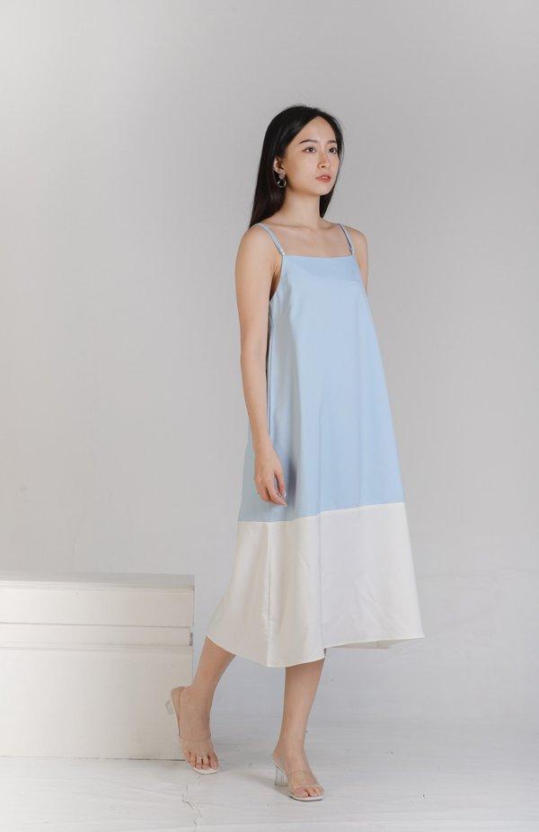 Miley Colour Block Dress - Light Blue