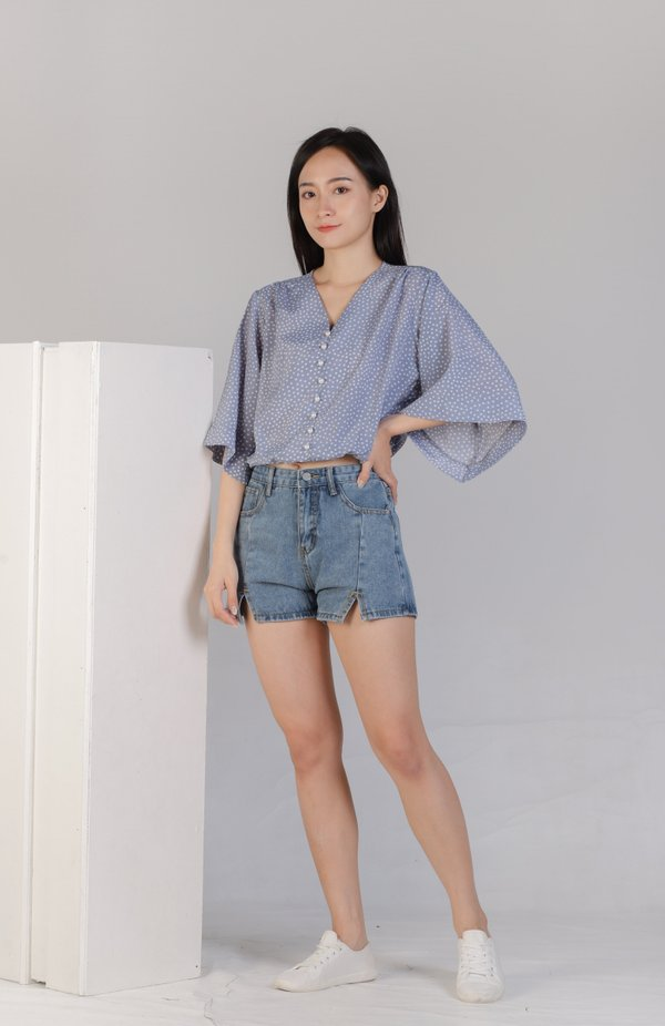 Jearl Pearl Button Top