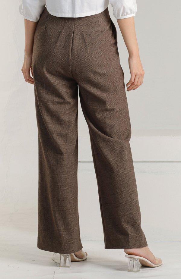 Alaina Flare Pants - Brown Checks