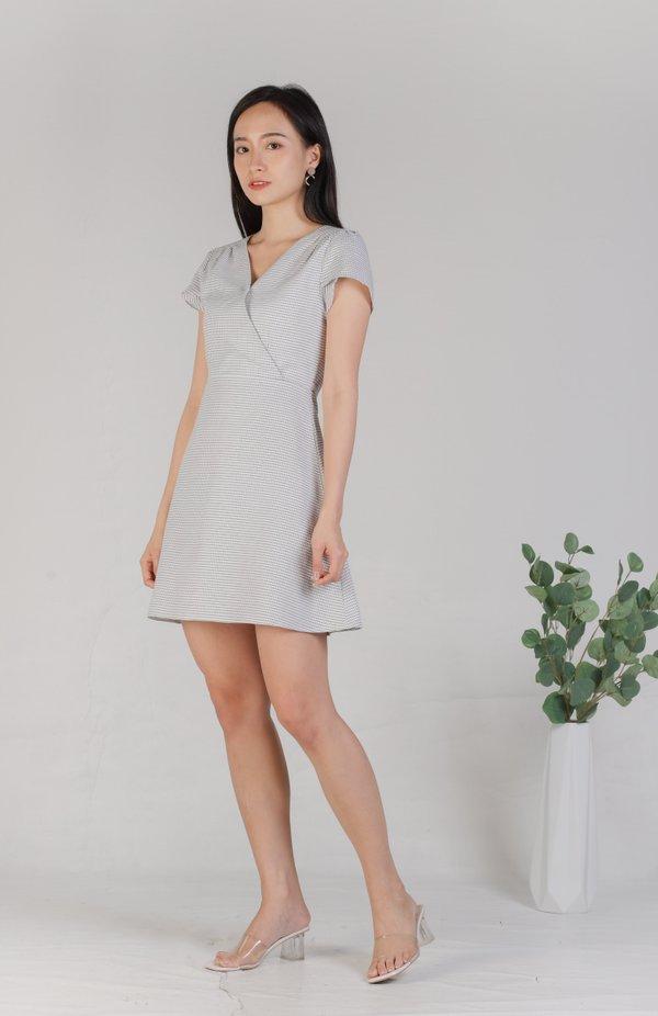 Alisa Faux Wrapped Dress - Checker