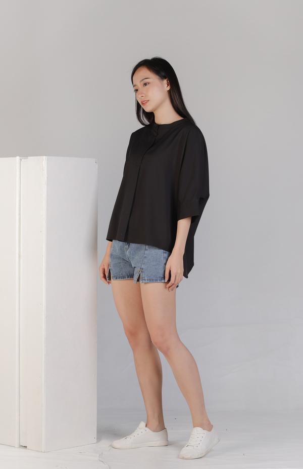 Mollie Mandarin Collar Tunic - Black