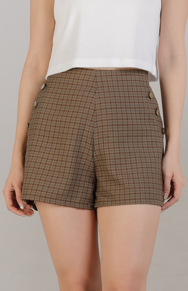 Madelyn Buttoned Bottom - Brown Checks
