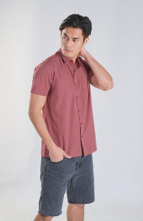 Jream Maroon Checks Shirt
