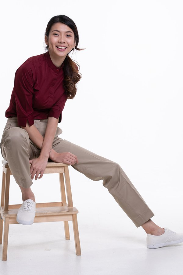 Ladies Flat Front Pants with Back Elastic (FHB-1826)