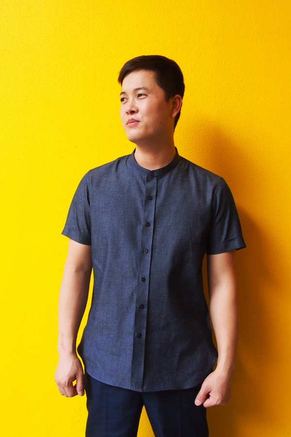 Men's Short Sleeve Mandarin Collar Shirt (FHA-18118)