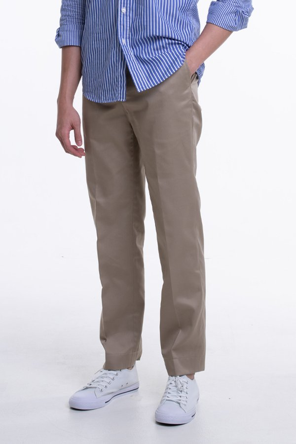 Men's Flat Front Pants with Back Elastic (FHB-1824)