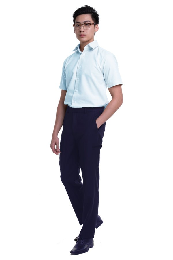 Men's Flat Front Pants with Hidden Side Elastic and Welt Pocket on Thigh (FHB-1825)