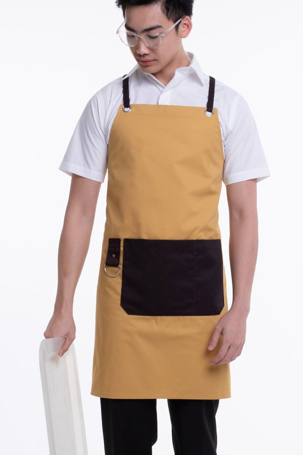 Full Apron with Contrast Strap, Pocket and Towel Hook (FHG-18720)