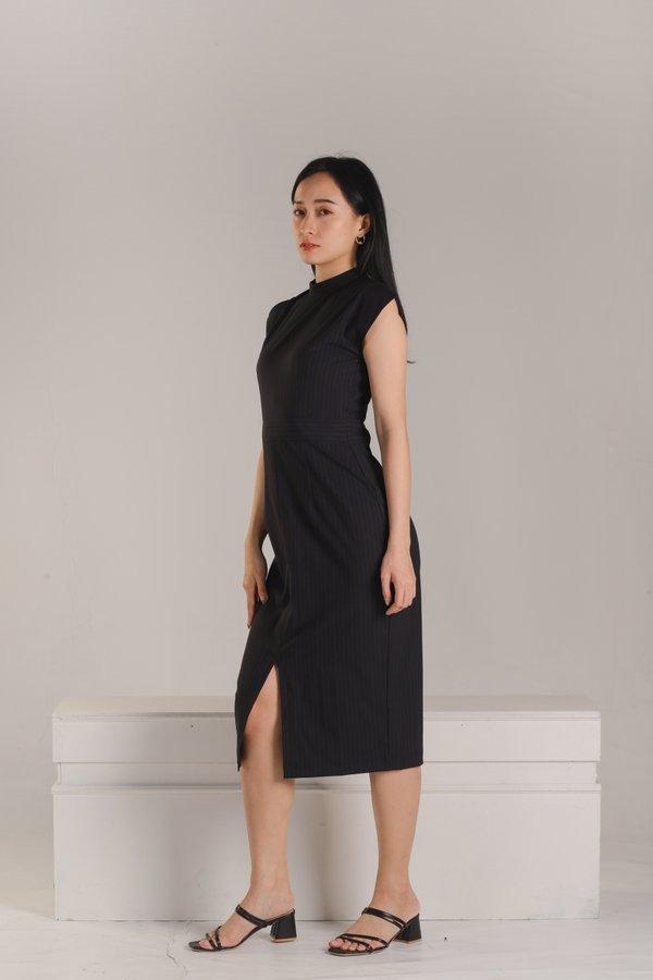 Alani Mandarin Collar Midi Dress - Pin Stripe