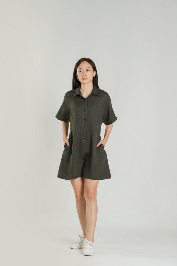 Jyl Shirt Romper - Army Green