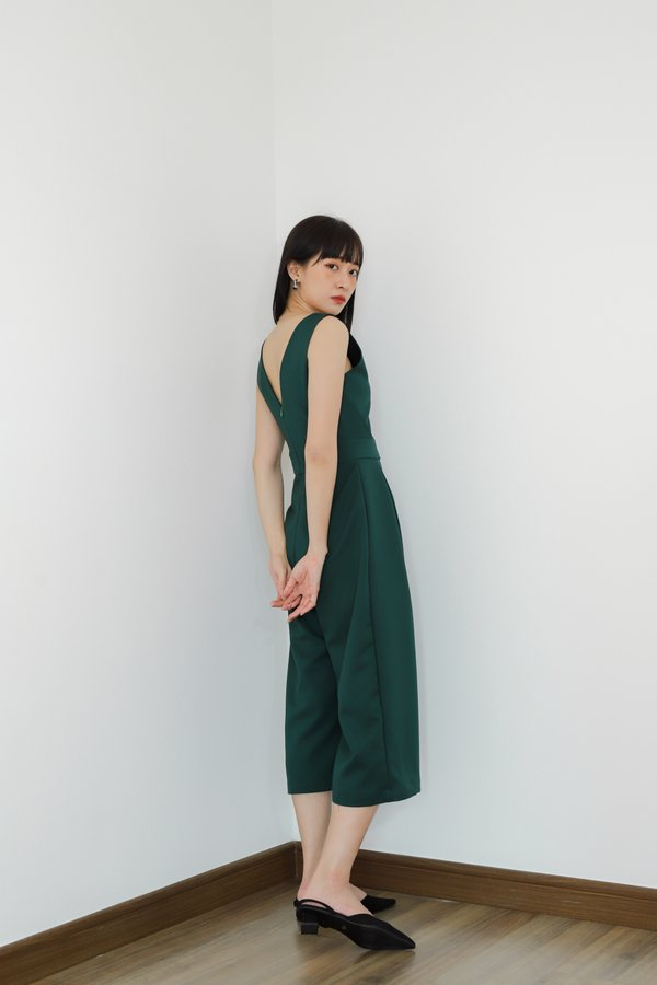 Astilba V-Neck Jumpsuit - Emerald