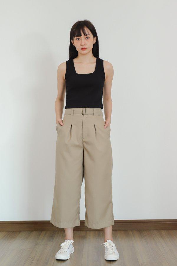 Ashe Wide Leg Cropped Pants - Khaki