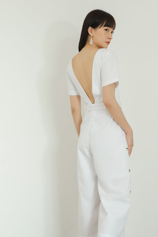 Aurelia Side Button Jumpsuit - White