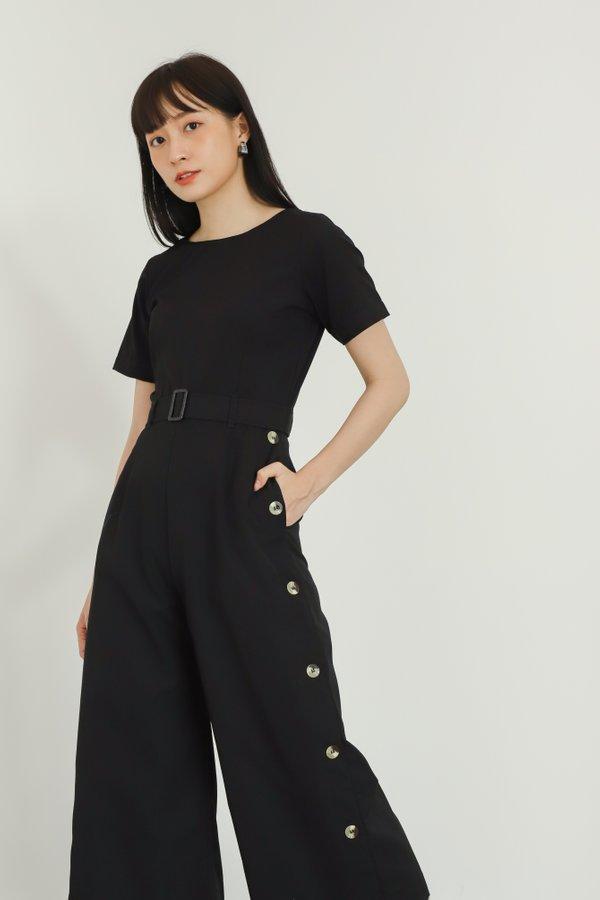 Aurelia Side Button Jumpsuit - Black