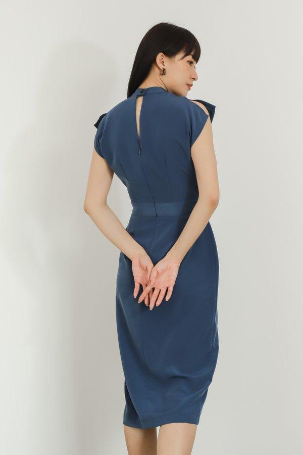 Alani Mandarin Collar Midi Dress - Blue