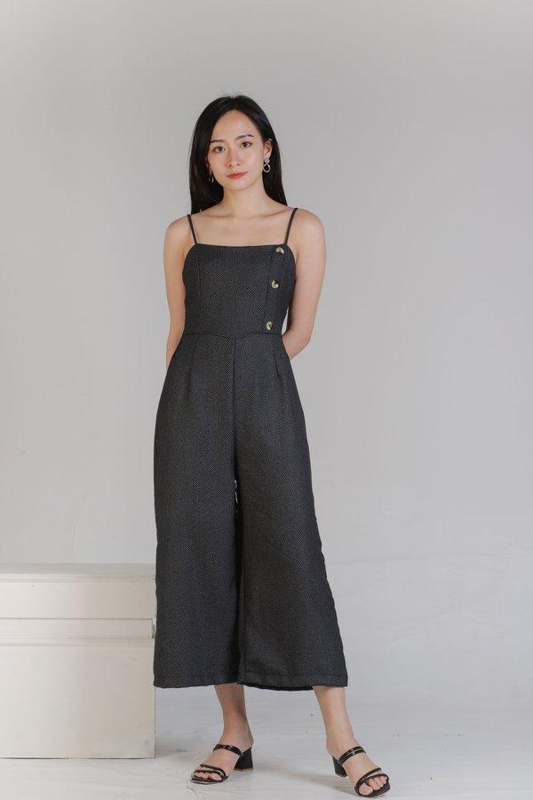 Aubrieta Glen Check Jumpsuit - Blue-Black