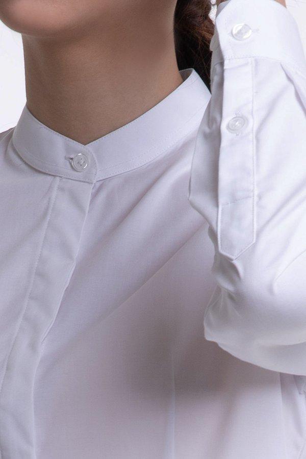 Ladies Long Sleeve Mandarin Collar Blouse (FHA-18112)