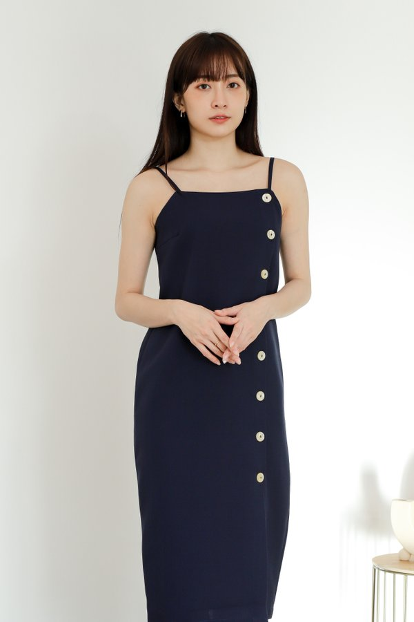 Braith Side Button Dress - Navy