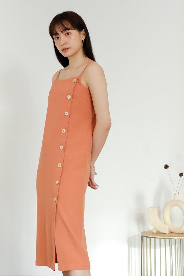 Braith Side Button Dress - Coral