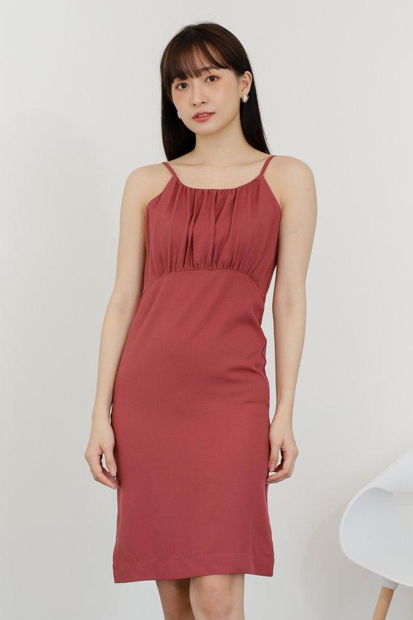 Blyss Ruched Cami Dress - Raspberry