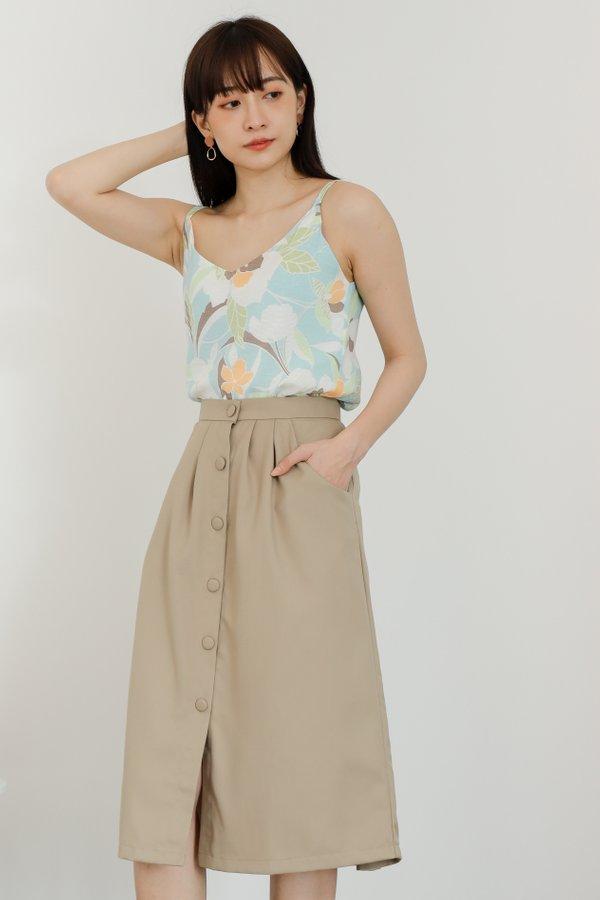 Paloma Button Skirt - Khaki