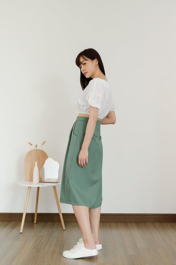 Paloma Button Skirt - Fern