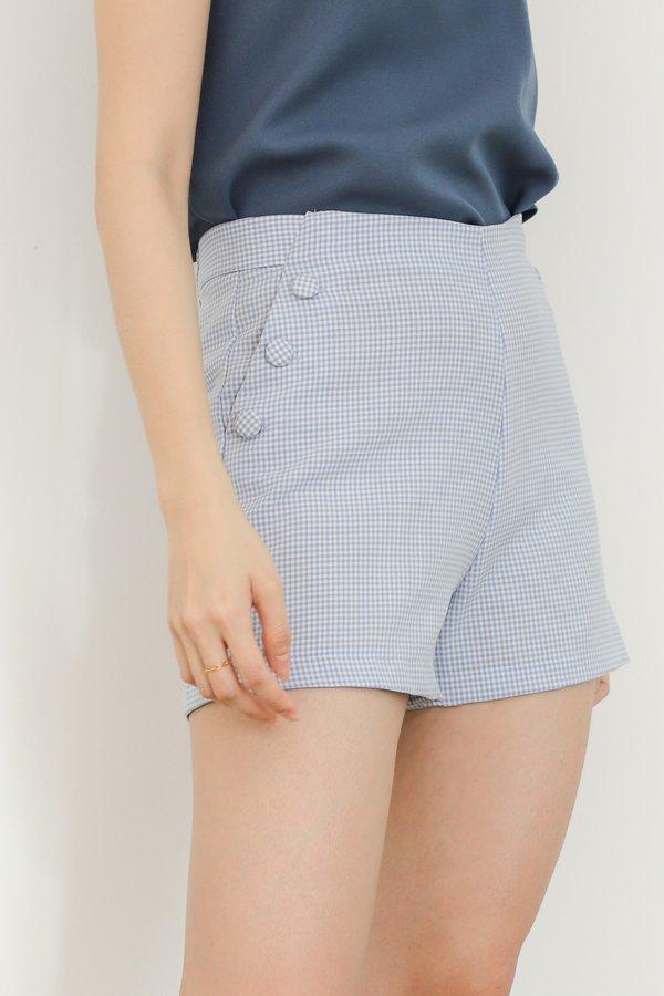 Madelyn Buttoned Bottom - Blue Checks