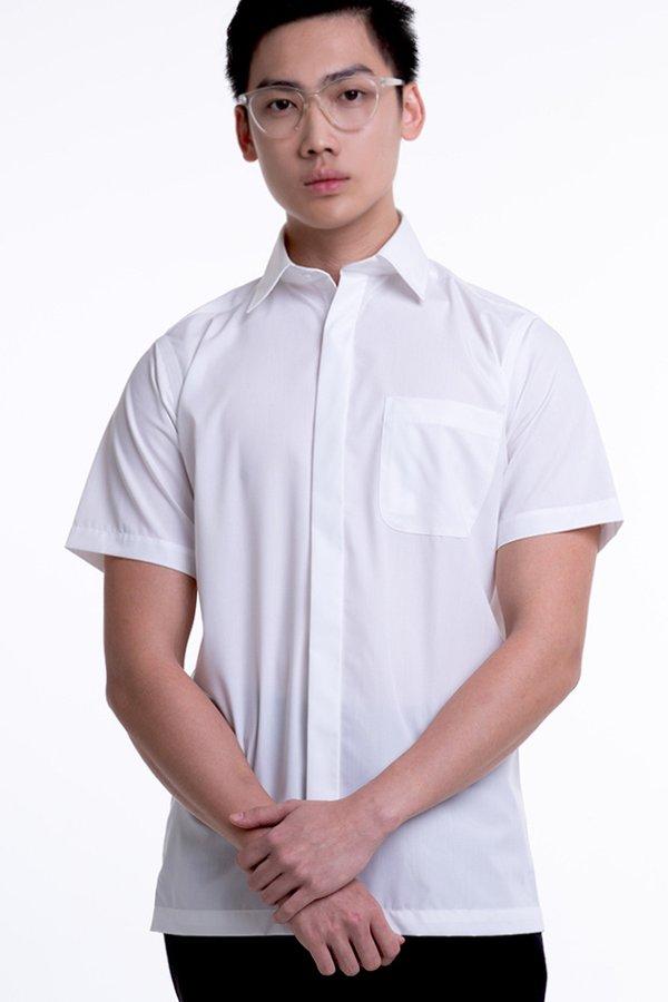 Men's Short Sleeve Shirt with Hidden Buttons (FHA-18110)