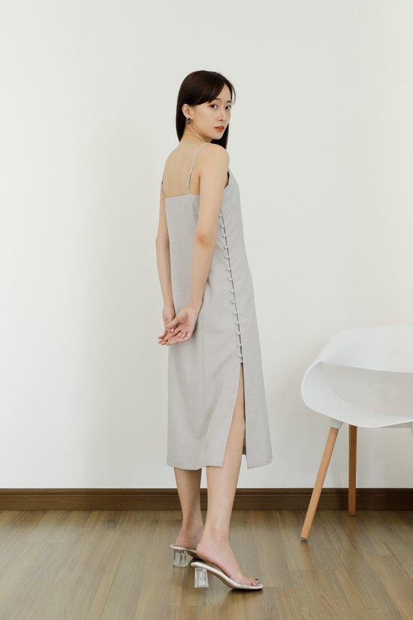 Odessa Side Button Dress - Stone