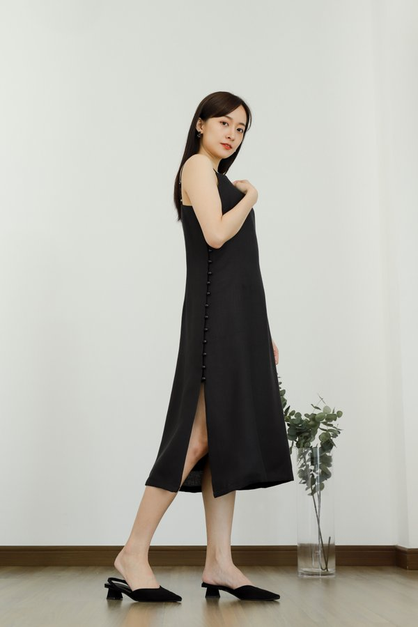 Odessa Side Button Dress - Black