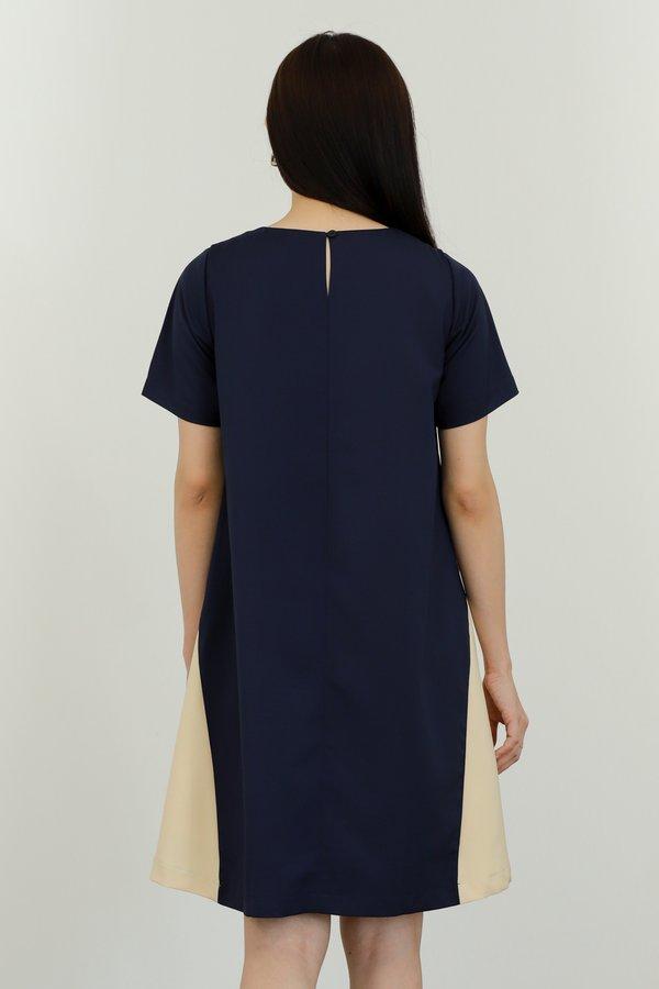 Omaira Colour Block Dress - Navy