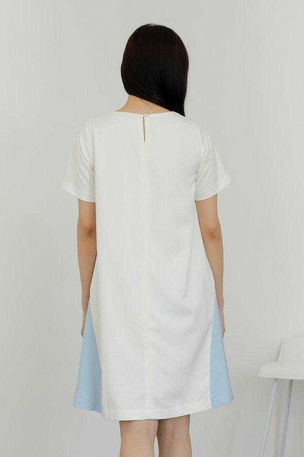 Omaira Colour Block Dress - Ivory