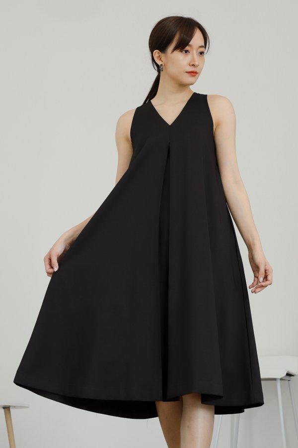 Ophelia Flared Midi Dress - Black