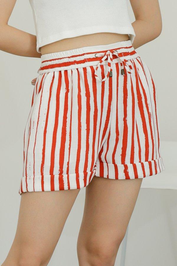 Leia Lounge Shorts - Orange Stripes