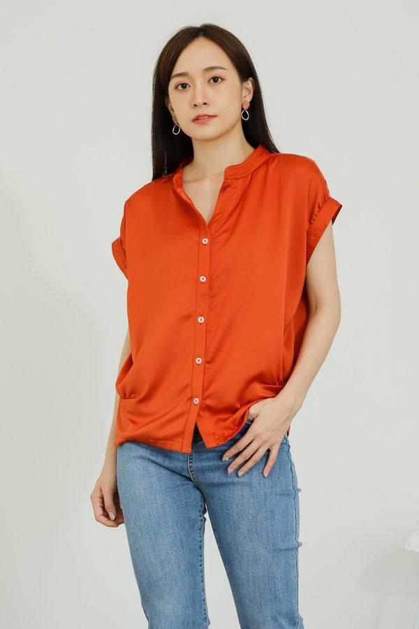 Ember Satin Blouse - Orange
